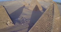 Pyramids in Meroë (Sudan) built 3200 years ago. During the hightimes of the Nubian Empire. There are some 300 pyramids in Sudan that were built for the Nubian Pharaohs. Compared with the pyramids in Egypt they are smaller and with a steeper angle. In Egypt there are only 60+ pyramids.