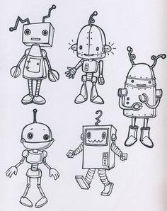 robot drawing simple robots sketch never drawings fun pencil cartoon character metal