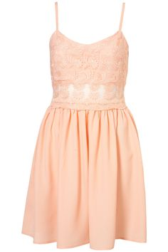 TOPSHOP 'Lace Strappy Dress' in Coral