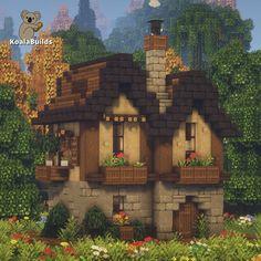 Minecraft House Plans, Minecraft Cottage, Easy Minecraft Houses, Minecraft Medieval, Minecraft House Designs, Minecraft Decorations, Amazing Minecraft, Minecraft Blueprints, Minecraft Crafts