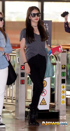 Charcoal Plain Tee Airport Fashion of Miss A Suzy