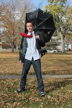 """Costume - A guy in a wind storm. """"We used lots of wire to make his clothes stay put."""""""
