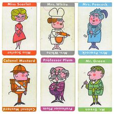 Clue suspect cards by Rosemary Travale, via Flickr