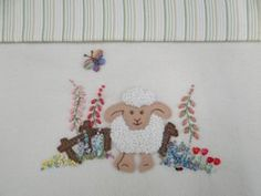 Amelia's Garden baby blanket embroidery design Wool Embroidery, Embroidery Applique, Embroidery Designs, Embroidered Baby Blankets, Applique Patterns, Stitch Design, Sewing For Kids, Wool Blanket, Quilts
