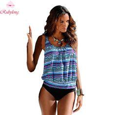 dee45beec6a3c JOYMODE Geometric Printed Tankini Women Bikini Three Pieces Swimsuit Set  Plus Size Sports Swimwear For Summer Bathing Suits -F