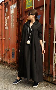 Black Maxi Dress / Long Sleeve Dress / Black Tunic Dress / Oversize Shirt by METAMORPHOZA