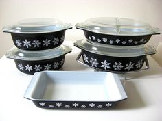 black snowflake vintage pyrex...was lucky enough to find the oval one at an antique mall for a song!