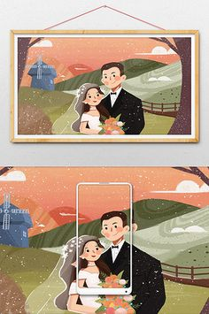 Fresh and beautiful wedding wedding wedding photo illustration Wedding Illustration, Couple Illustration, Portrait Illustration, Wedding Posters, Cartoon Design, Art Studies, Free Illustrations, Cute Drawings, Illustrator