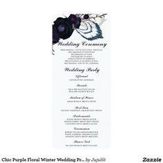 "Chic Purple Floral Winter Wedding Program Card 4"" X 9.25"" Invitation Card"