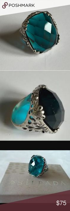 Silpada Ring Sterling Silver with Blue Green Stone Silpada Jewelry Rings