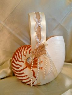 Beach Wedding Nautilus Shell Flower Girl Basket w/ Burlap & Lace Handle and Pearls