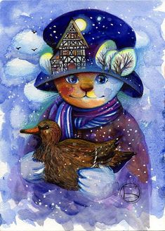 Winter, cat and snow in fine art. Paintings with winter cat. Illustrations, Illustration Art, Art Mignon, Winter Cat, Gatos Cats, Artist Portfolio, Cat Colors, Cat Drawing, Christmas Cats