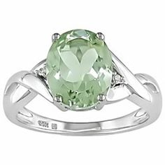 Miadora 10k Gold Green Amethyst and Diamond Accent Ring