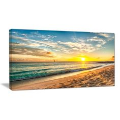 DesignArt White Beach in Island of Barbados Photographic Print on Wrapped Canvas | Wayfair.ca