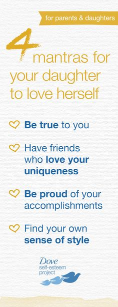 Teach your daughter that it's okay to be different by encouraging and celebrating her unique traits. Championing those traits encourages self-love and acceptance, and also how to truly accept others. For more self-esteem articles, activities, and advice—head to www.pinterest.com/selfesteem. #SelfEsteemProject