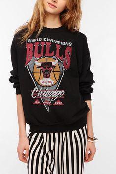 Junk Food Chicago Bulls Basketball Sweatshirt + Stripe Pants. #marchmadness #glossi #fashion
