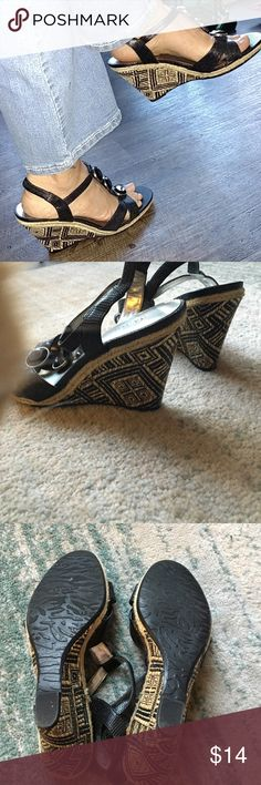 Ann Klein sandals FINAL Comfy elastic backs. Neat black design pattern.  AK Venture Anne Klein Shoes Sandals
