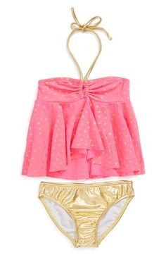 Love U Lots 'Coral Keyhole' Two-Piece Swimsuit (Little Girls) available at #Nordstrom