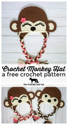 This free crochet monkey hat pattern is perfect for the little monkey in your life. Made with sweet little ears, a sweet little expression...