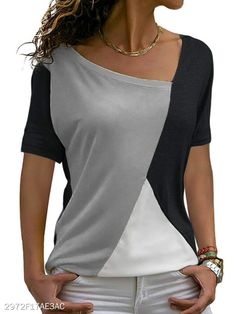 Sarin Mathews Womens Shirts Casual Tee Shirts Short Sleeve Patchwork Color Block Loose Fits Tunic Tops Blouses Get this teenager highschool outfit for cute girls at Women's Clothing store Yeezy Outfit, Casual T Shirts, Tee Shirts, Beach Shirts, Tunic Blouse, Casual Wear, Casual Outfits, Casual Tops For Women, Ladies Tops
