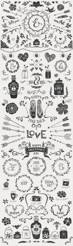 Hand Drawn Romantic Decoration Pack - Illustrations