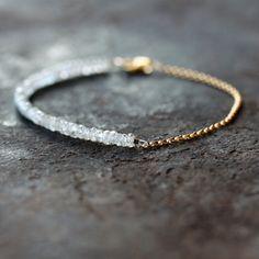White Gemstone Bracelet Bridal Wedding Jewelry by ShopClementine