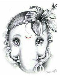 No photo description available. Ganesha Sketch, Ganesha Drawing, Lord Ganesha Paintings, Lord Shiva Painting, Krishna Painting, Ganesha Art, Krishna Art, Jai Ganesh, Spirituality