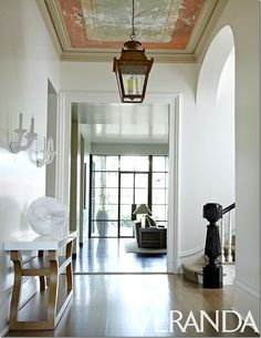Holden. NOLA. Walls are Benjamin Moore White Dove. Antique Lantern from Chateau Domingue. Sconces-Gris.