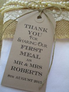 100 Wedding Napkin Ties-Wedding Table Decor Tags by TheIvoryBow