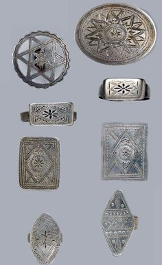 Egypt | Set of eight wedding rings from the Siwa Oasis region; silver, engraved | Est. 2'200 - 2'500€ ~ (Dec '14)