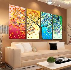 Posters & Prints Colorful Season Tree Canvas Print Wall Art Painting Picture Home Hall Decor & Garden Decoration Hall, Decoration Photo, Wedding Decoration, Tree Canvas, Canvas Wall Art, Wall Art Prints, Bedroom Canvas, Canvas Frame, Bedroom Wall