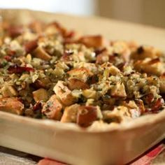 Pear, Prosciutto and Hazelnut Stuffing -- Crisping the prosciutto and toasting the nuts adds a powerful punch of flavor to the stuffing without going overboard on fat. #thanksgiving
