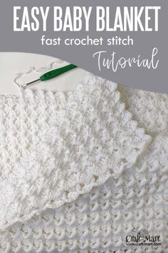 Baby Blanket Crochet 90179 Easy crochet baby blanket - free pattern for beginners; with our step-by-step instructions and video tutorial you can learn this easy crochet blanket stitch and quickly crochet this baby blanket using Bernat Baby Sport Yarn. Crochet Stitches For Blankets, Crochet Baby Blanket Beginner, Crochet Baby Blanket Free Pattern, Basic Crochet Stitches, Crochet Basics, Baby Afghan Crochet Patterns, Easy Crochet Baby Blankets, Crocheted Baby Afghans, Crochet Baby Stuff