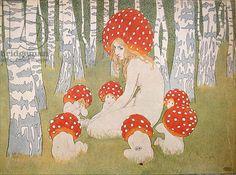 Mother Mushroom with her children, c.1900 (colour litho), Okun, Edward (1872-1945)