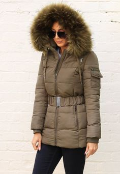 Harper Luxe Quilted Longline Hooded Puffer Coat with Faux Fur Trim & Belt in Khaki Green Red Ski Jacket, Puffy Jacket, Fur Jacket, Green Coat, Khaki Green, Puffer Coat With Fur, Cute Coats, Playsuits, Fur Trim