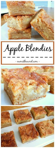 Apple Blondies - A perfect Autumn dessert that mixes apple pie and blondies. Yummy Apple Blondies with a large scoop of vanilla ice cream is the perfect dessert or skip the ice cream and make it a sna (Apple Recipes) 13 Desserts, Apple Dessert Recipes, Delicious Desserts, Yummy Food, Desserts With Apples, Apple Baking Recipes, Autumn Desserts, Autumn Apple Recipes, Fall Deserts Recipes