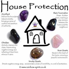 House Protection Crystal Set The crystals in this set have been carefully selected to complement each other and to provide protection for a harmonious home. The set includes five stones (Amethyst, Obsidian, Rose Quartz, Smoky Quartz and Black Tourm Crystal Shop, Crystal Magic, Crystal Grid, Amethyst Crystal, Black Amethyst, Chakra Crystals, Crystals And Gemstones, Stones And Crystals, Crystals For Home