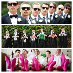 Wedding Spin: Groomsmen Photos. Are you as in love with these groomsmen photo ideas as much as I am?  I love Love LOVE the pink socks and the superhero shirt pulls!  I found this gem over at Land Locked Bride!