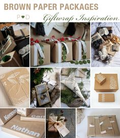 Brown Paper, Brown Paper Packaging, Giftwrap Ideas, Giftwrap Inspiration, Christmas Giftwrapping, Wrapping presents, Styling, Inspiration, Moodboard