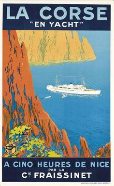 """Vintage Travel Poster - :La Corse - """"En Yacht"""" ( (par Cie. Fraissinet) - French Mediterranean"""