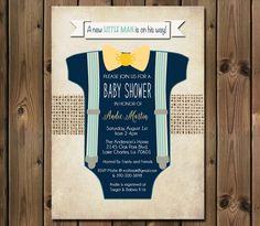 Boy Baby Shower Invitation Blue Onesie Bow Tie Suspenders Burlap Shabby Rustic Printable Custom Digital_1002 by RockStarPress on Etsy https://www.etsy.com/listing/239685499/boy-baby-shower-invitation-blue-onesie