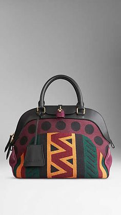 Medium Tapestry and Leather Bowling Bag. Burberry