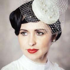 REGINA – Bridal Pillbox Hat with Birdcage Veil – RUBINA Millinery