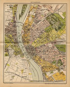 BUDAPEST MAP, HUNGARY from 1893 by OjiochaPrints on Etsy Old Maps, Antique Maps, Planning Maps, Hungary Travel, Page Maps, City Maps, Travel Maps, Budapest Hungary, Old Photos