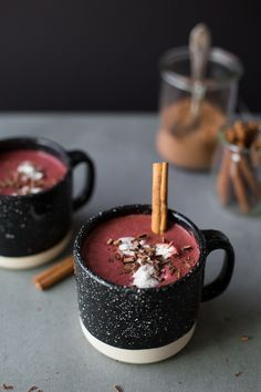 Healthy red velvet hot chocolate. This unique cold weather drink is perfect in the fall or for winter. Warm up with a mug! You'll need almond, cashew or coconut milk, cooked and grated beet, cocoa powder, dates, vanilla, cinnamon, and sea salt.