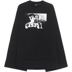 Fenty x Puma by Rihanna Fleece Crew Neck Black // oversize sweater (£215) ❤ liked on Polyvore featuring tops, sweaters, crew neck sweaters, oversized crew neck sweater, fleece lined sweater, oversized tops and kimono sleeve top