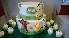 jungle themed baby shower 2 tier cake
