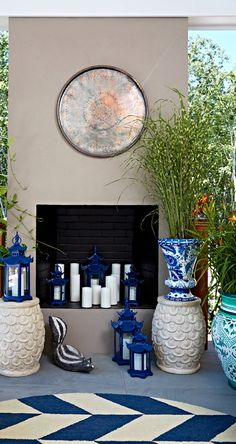 Our Blue and White Painted Tabletop Planter is an indulgence in ornate foliage, exotic birds and ceramic tile designed artistry.  | Madcap Cottage for Hampton Designer Showhouse 2015