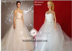 Miniature Replica Wedding Dress,Custom,Barbie,Gift for wife,1/6 Scale,Keepsake…
