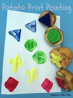 Potato print painting fun painting idea for kids - making shapes Childcare Activities, Color Activities, Creative Activities, Autumn Activities, Infant Activities, Activities For Kids, Activity Ideas, Nursery Activities Eyfs, Toddler Painting Activities